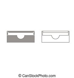 Stationary paper tray grey set icon .