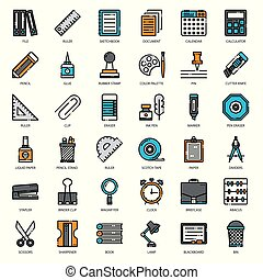 Stationary, pixel perfect filled outline icon, isolated on ...