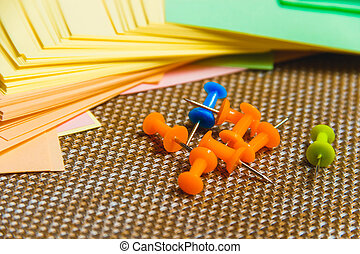 Stationary, Pushpins Heap, Blank Colored Sticker on Brown Board. Time-management, Planning.