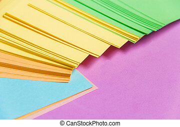 Stationary, Stack of Blank Colored Sticker on Lilac Board. Time-management, Planning.