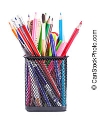 Stationary - Black pencil cup with stationary isolated on...