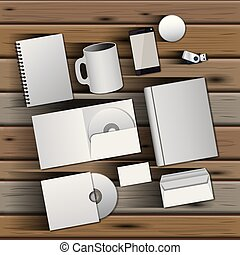 stationary templates of documentation blank design of business stationery over wooden background