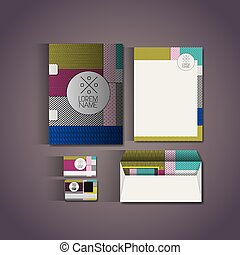 stationary templates with texture colours business stationery on gray background