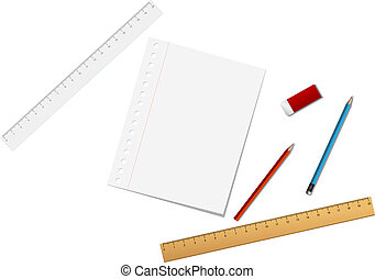 Stationary tools - School and stationary tools isolated on ...