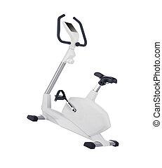 Stationary training bicycle isolated on white background