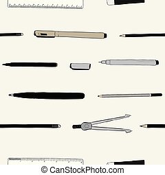 stationary vector set , hand draw sketch seamless pattern vector.