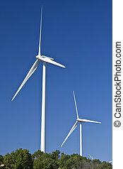 stationed, energía eólica, generadores, colina, eléctrico