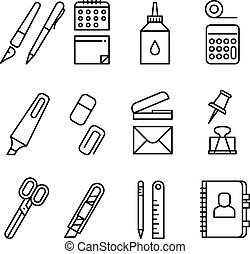 Stationery and office equipment thin line vector icons
