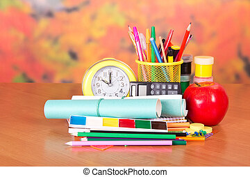 Stationery and school notebooks - Alarm clock, writing...