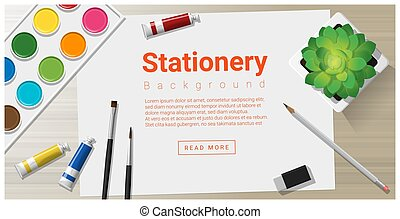 Stationery background with school supplies on wooden table 1