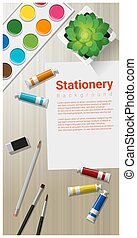 Stationery background with school supplies on wooden table 2