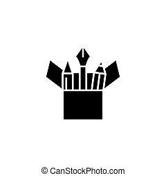 Stationery black icon concept. Stationery flat vector symbol, sign, illustration.