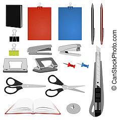 Pen, diary, knife, stapler, scissors, book, punch etc.
