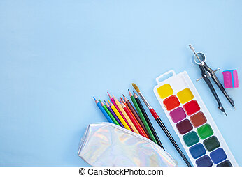 stationery., concept., back, set, school