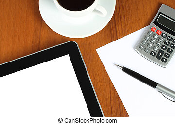 stationery, congegno, tocco, fondo, legno, tazza, schermo, caffè