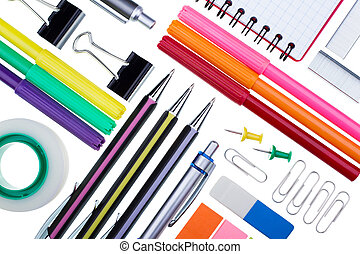Stationery for office on a white background