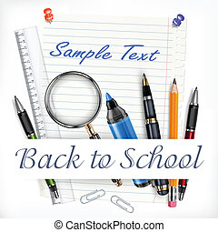 Stationery for school - Stationery on white sheet for...