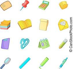 Stationery icons set, cartoon style