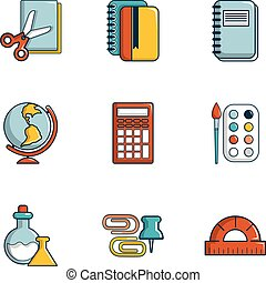 Stationery icons set, flat style