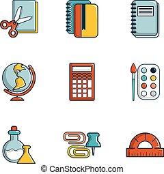 Stationery icons set, flat style