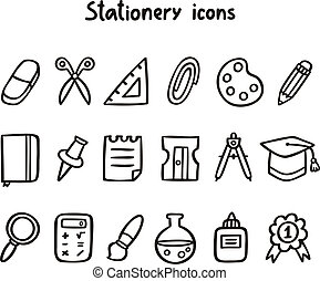 Stationery icons set in black and white