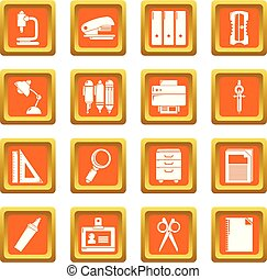 Stationery icons set orange square vector