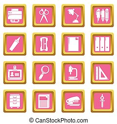 Stationery icons set pink square