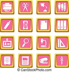 Stationery icons set pink square vector
