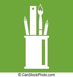 Stationery in cup icon green