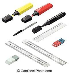 Stationery isometric icons set