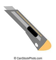 Stationery knife vector flat icon. Construction working tool item. Flat logo Stationery knife isolated on white background. Vector Stationery knife cartoon illustration.
