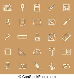 Stationery line icons on brown background