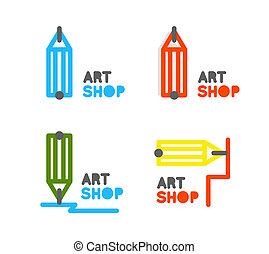 stationery, logo., icon., addestramento, contorno, matita, negozio, concetto, corsi, mentorship