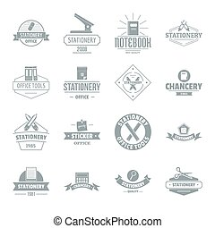 Stationery logo icons set, simple style