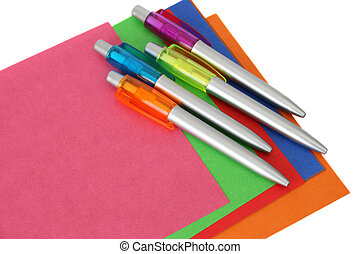 Stationery - Multi coloured sheets of paper and pens