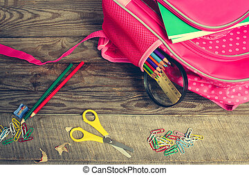 Stationery objects. School supplies