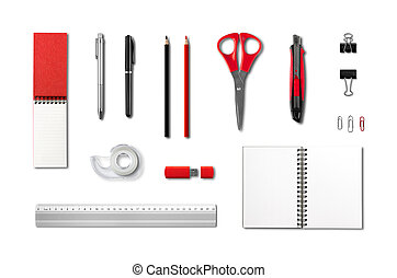 Stationery, office supplies mockup template, white background