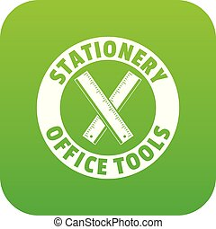 Stationery office tool icon green vector