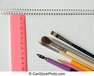 stationery on copybook