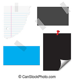 Stationery, paper, notes, documents vector - Cards, ripped...