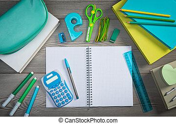 stationery, quaderno, aperto, colorito