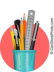 Stationery Realistic Composition