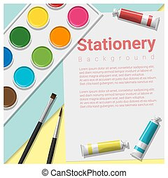Stationery scene mock up with art supplies on colorful...