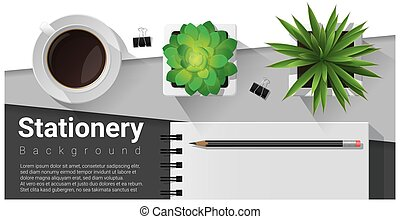 Stationery scene with office equipment background 10