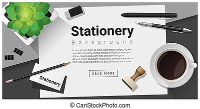 Stationery scene with office equipment background 11
