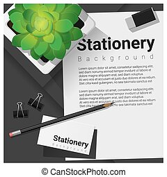 Stationery scene with office equipment background 12