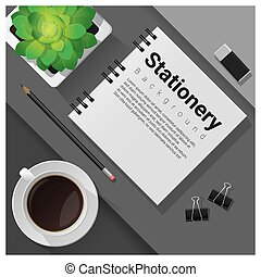 Stationery scene with office equipment background 14