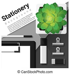 Stationery scene with office equipment background 6