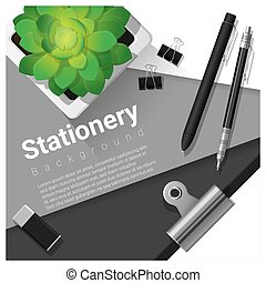 Stationery scene with office equipment background 5