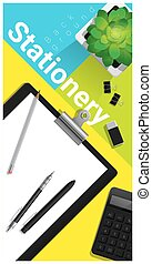 Stationery scene with office equipment on colorful background 2